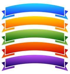 Set of colorful blank banner ribbon backgrounds vector