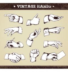 Set vintage hands vector