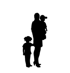 silhouette mother with two little children vector image