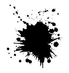 single big black ink splash grunge design vector image
