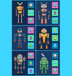 six robots icons set color vector image