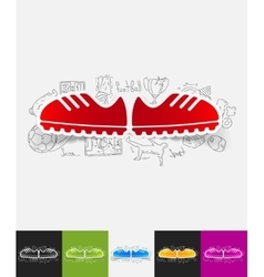 Sneakers paper sticker with hand drawn elements vector