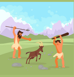 Stone age hunters flat vector