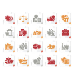 stylized business and industrial insurance icons vector image