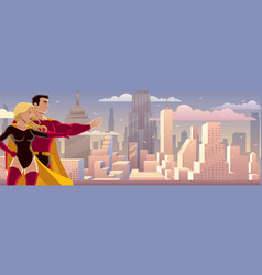 superhero couple banner vector image