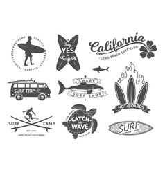 surf boards emblem and badges set signs vector image