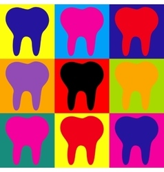Tooth sign Pop-art style icons set vector