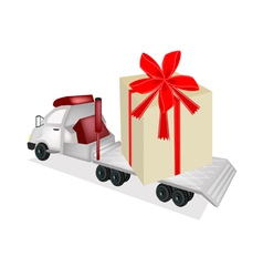 Tractor Trailer Flatbed Loading A Giant Gift Box vector