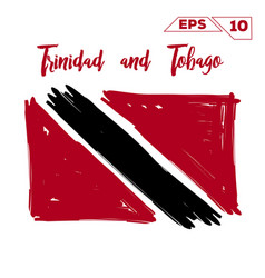 trinidad and tobago flag brush strokes painted vector image