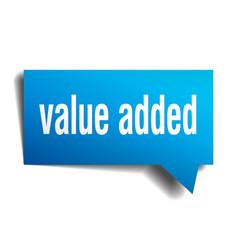value added blue 3d speech bubble vector image