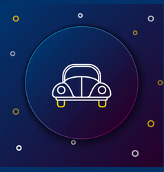 White and yellow line car volkswagen beetle icon vector