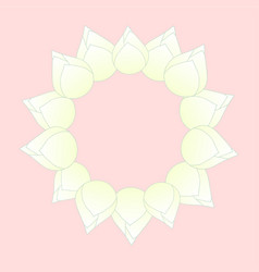 White bud indian lotus wreath vector