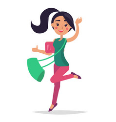 young bouncing girl student holding book with bag vector image
