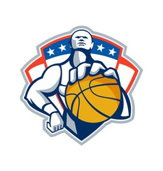 Basketball Player Holding Ball Crest Retro vector image vector image