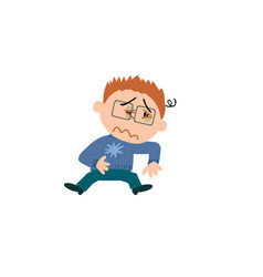 Character of a sick boy with glasses vector