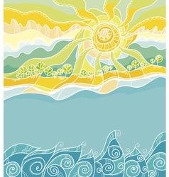 decorative of summer sea shore vector image vector image