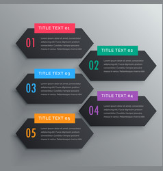 five infographics steps banners in dark theme vector image