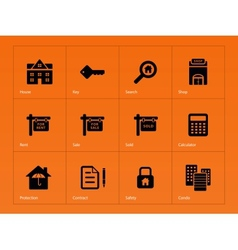 Real Estate icons on orange background vector image