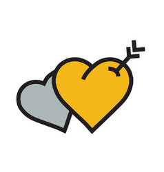 Twins heart arrow icon yellow color vector