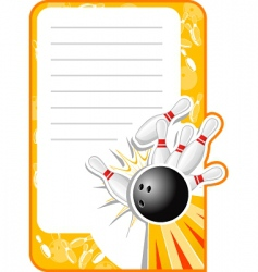 blank bowling invitation vector image vector image