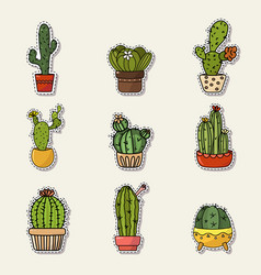set of cute cartoon doodle of vector image vector image