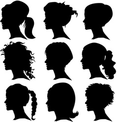 set of woman silhouette with hair styling vector image