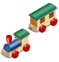 Wooden toy train isolated on white vector image