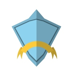 Blue shield diamond with yellow ribbon shadow vector