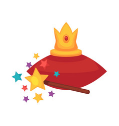 golden crown on red cushion and magic wand vector image