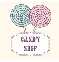 Hand drawn lollipop with label vector image