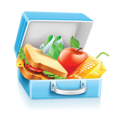 Lunch box with sandwich apple vector