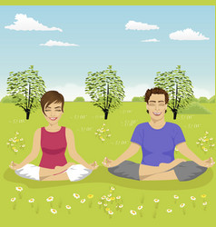 young couple doing yoga exercise in park in summer vector image vector image