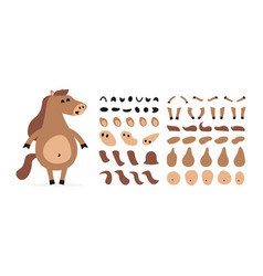 cartoon horse creation set icons with different vector image
