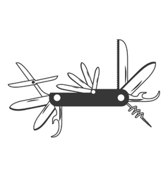 Monochrome silhouette with utility knife vector