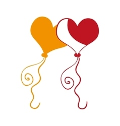 yellow and red heart balloons vector image