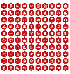 100 winter shopping icons hexagon red vector