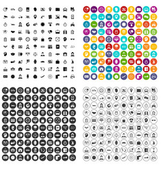 100 working hours icons set variant vector