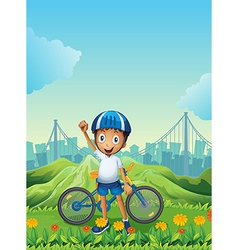 A boy and his bike standing across the tall vector image