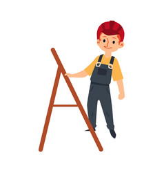 A child boy in a helmet uniform and work overalls vector
