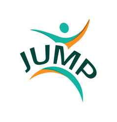 Abstract jump logo vector