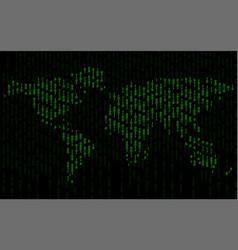 Abstract world map of binary computer code vector