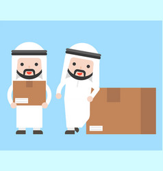 Arab businessman with parcel box ready to use vector