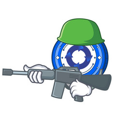 army cryptonex coin character cartoon vector image