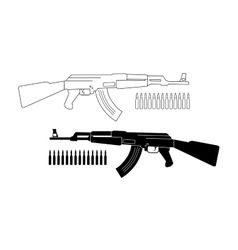 Assault rifle with bullets Contour Silhouette vector image
