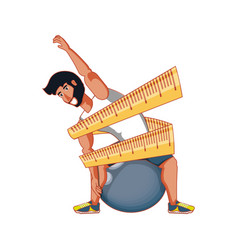Athletic man practicing pilates with measuring vector