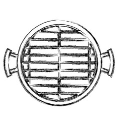 Bbq grill top view monochrome blurred silhouette vector