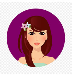 beautiful brunette girl with hazel eyes and long vector image
