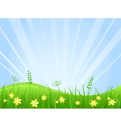 Beautiful green meadow scene vector image