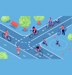 bicycle city isometric composition vector image