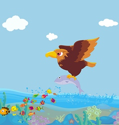 Bird of prey fishing vector